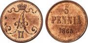 5 pennia 1865 year