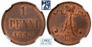 1 пенни 1892 года