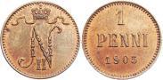 Монета 1 пенни 1916 года, , Медь