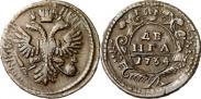 Монета Denga 1737 года, , Copper