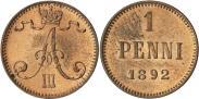 Монета 1 пенни 1892 года, , Медь