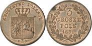 Монета 3 гроша 1831 года, Польское восстание, Медь