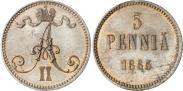 Монета 5 пенни 1870 года, , Медь