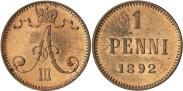 Монета 1 пенни 1893 года, , Медь