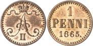 Монета 1 пенни 1875 года, , Медь