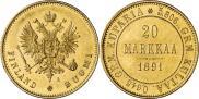 Монета 20 марок 1891 года, , Золото