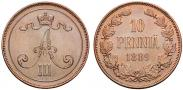 Монета 10 pennia 1889 года, , Copper