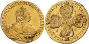 Монета 5 рублей 1757 года, , Золото