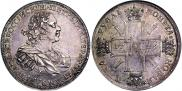 Монета 1 rouble 1724 года, Sun rouble, portrait with shoulder straps, Silver