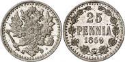 Монета 25 пенни 1869 года, , Серебро
