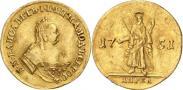 Монета 2 червонца 1751 года, Св. Андрей на реверсе, Золото
