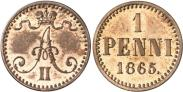 Монета 1 пенни 1866 года, , Медь