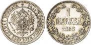 Монета 1 марка 1865 года, , Серебро