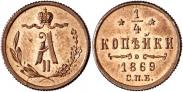 Монета 1/4 копейки 1875 года, , Медь
