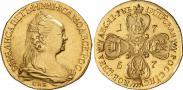 Монета 10 рублей 1757 года, Портрет работы Ж. Дасье, Золото