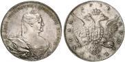 Монета 1 рубль 1736 года, Портрет работы Гедлингера, Серебро