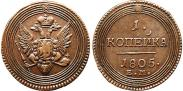 Монета 1 копейка 1808 года, , Медь