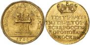 Монета Жетон 1728 года, Коронация Императора Петра II, Золото