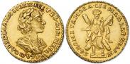 Монета 2 рубля 1725 года, Портрет в античных доспехах, Золото