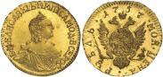 Монета 1 рубль 1757 года, , Золото