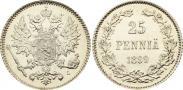 Монета 25 пенни 1909 года, , Серебро