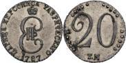 Монета 20 копеек 1787 года, , Серебро