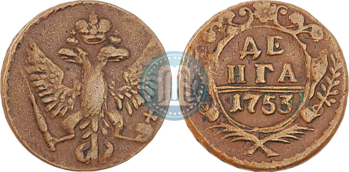 Денга 1753 года 5 groszy цена в рублях