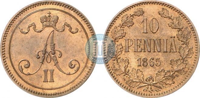 10 пенни 1865 года